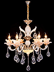 6 Lights European Style Chandelier Crystal Luxury Zinc Alloy LED Pendant Lights