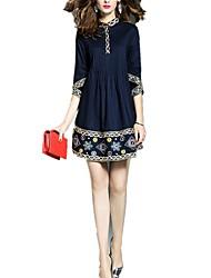 Feminino Evasê Vestido, Para Noite Casual Férias Simples Moda de Rua Sofisticado Bordado Colarinho Chinês Mini Acima do Joelho Manga ¾