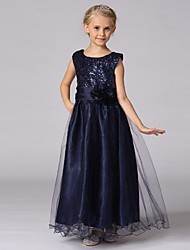 Ball Gown Ankle Length Flower Girl Dress - Organza Sleeveless Jewel Neck with Sequin by YDN