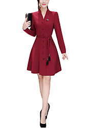 Women's Casual/Daily Street chic Sophisticated Bodycon Sheath Dress,Striped Round Neck Knee-length Long Sleeve Black Polyester Fall Winter