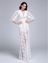 LAN TING BRIDE Sheath / Column Wedding Dress - Chic & Modern See-Through Lacy Look Floor-length V-neck Lace with Lace
