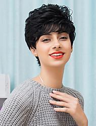 привлекательный короткий монолитным парики естественный вьющиеся человеческие волосы 2017 года