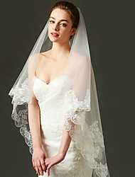 Wedding Veil One-tier Fingertip Veils Lace Applique Edge Tulle