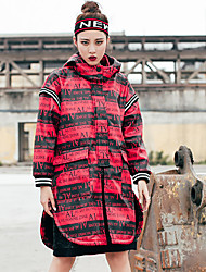 Women's Going out Casual/Daily Sports Simple Street chic Trench Coat,Letter Hooded Long Sleeve Fall Winter Wash inside out Dry flat