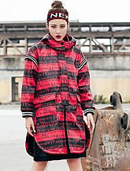 Feminino Casaco Longo Para Noite Casual Esportivo Simples Moda de Rua Outono Inverno,Letra Lavar do Avesso Secar no Plano PoliésterCom
