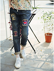 # 8811 national wind embroidery patch worn loose big yards straight jeans female floral jeans pants collapse