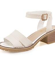 Damen-Sandalen-Lässig-PU-Blockabsatz-Komfort Leuchtende Sohlen-Weiß Beige