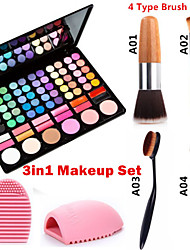 3in1 Makeup Set(78 Colors 3in1 60 Eyeshadow 12 Lipstick 6 Blusher Makeup Cosmetic Palette+1 Blush Brush+1 Brush Egg)