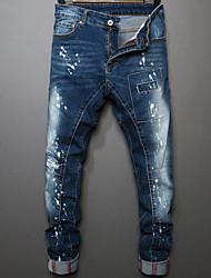 Hombre Corte Recto Vaqueros Chinos Pantalones,Un Color Casual/Diario Sencillo Tiro Medio Cremallera Botón Algodón Micro-elásticaCon