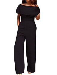 Women's Off The Shoulder Cape Off Shoulder Pocket Wide Leg Jumpsuit