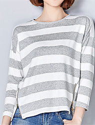 Spring Fall Plus Size WomenGoing out Casual Tops Round Neck Long Sleeve Striped T-shirt