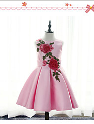BONJEAN A-line Knee-length Flower Girl Dress - Chiffon Jewel with Appliques