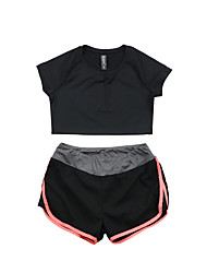 Damen Laufshirt mit kurzer Laufhose Kurzarm Rasche Trocknung Atmungsaktiv T-shirt Kleidungs-Sets für Yoga Übung & Fitness Laufen Modal