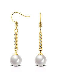 2016 Fashion Gold White Pearl Cubic Zircon Stud Earrings Wedding Jewelry For Women