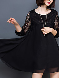 Women's Lace Plus Size Going out Casual/Daily Sexy Simple Cute Loose Dress,Solid Round Neck Above Knee Long Sleeve Others Red Black All Seasons