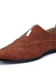 Men's Oxfords Spring Summer Fall Fabric Casual Flat Heel Zipper Dark Blue Gray Brown