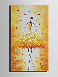 E-HOME Oil painting Modern Golden Dance Girl Pure Hand Draw Frameless Decorative Painting