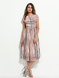 Women's Street chic Striped Swing Dress,Stand Midi Silk / Polyester