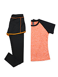 Mujer Camiseta de running con pantalones Manga Corta Secado rápido Transpirable Sets de Prendas para Yoga Ejercicio y Fitness Running
