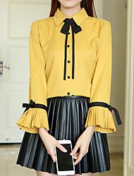 Feminino Camisa Social Para Noite Formal Trabalho Simples Fofo Moda de Rua Primavera Outono,Sólido Branco Amarelo PoliésterColarinho de