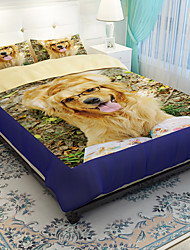 Animal Duvet Cover Sets 4 Piece Polyester 3D Reactive Print Polyester King 1pc Duvet Cover 2pcs Shams 1pc Flat Sheet