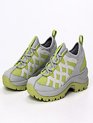 Women's Athletic Shoes Spring Summer Comfort Microfibre Leather Tulle Outdoor Athletic Low Heel Split Joint Lace-up Light Grey Light Green