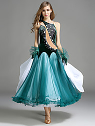 Ballroom Dance Dresses Women's Performance Tulle Velvet Crystals/Rhinestones Ruffles 2 Pieces Sleeveless Natural Gloves Dress