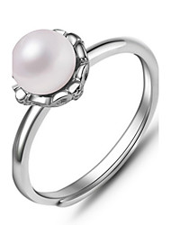 Ring Imitation Pearl Daily Casual Jewelry Silver Imitation Pearl Women Ring 1pc,One Size Silver