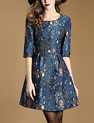Women's Going out Simple A Line Dress,Jacquard Round Neck Above Knee ¾ Sleeve Polyester Blue Spring Fall Mid Rise Inelastic