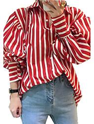 Feminino Camisa Social Para Noite Trabalho Bandagem Vintage Moda de Rua Sofisticado Todas as Estações,Listrado Azul Vermelho Outros