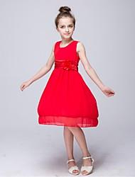 Vestido de menina de flor de joelho com uma linha de joias - Bolso de jóia sem manga com chiffon com flor