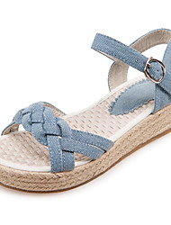 Women's Sandals Spring Summer Fall Other Denim Office & Career Dress Casual Flat Heel Buckle Light Blue Navy Blue