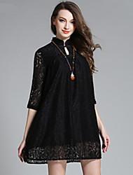 Robe Aux femmes Grandes Tailles / Lace Vintage,Couleur Pleine Mao Au dessus du genou Polyester