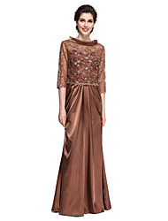 LAN TING BRIDE Sheath / Column Mother of the Bride Dress - Convertible Dress Floor-length 3/4 Length Sleeve Lace Stretch Satin with
