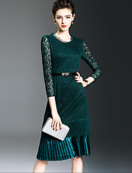 Women's Going out Simple Sheath Dress,Patchwork Lace Ruched Round Neck Knee-length Long Sleeve Polyester Green Spring Fall Mid Rise