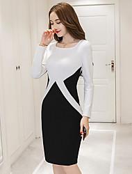 signe 2017 nouveau printemps dames haut de gamme tempérament mince paquet hip robe à manches longues mince et longues sections