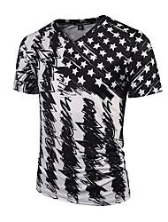 Tee-shirt Hommes,Imprimé Décontracté / Quotidien Soirée / Cocktail Soirée Chic de Rue Actif Punk & Gothique Toutes les SaisonsManches