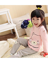 Unisex Casual/Daily Animal Print Sets,Cotton Spandex Winter Fall Long Sleeve Clothing Set