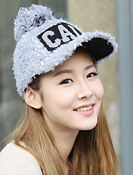 2017 New Winter Fashion Sequined Hair Ball Baseball Cap Warm Peaked Cap Letters