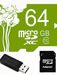 Plant Theme 64GB  Micro SD TF Card  with SD SDHC Adapter and Multi-function OTG USB Card Reader