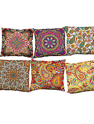 Set of 6 Retro floral  pattern Linen Pillowcase Sofa Home Decor Cushion Cover