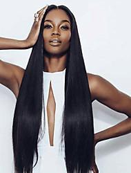 Frente 100% de la peluca sin procesar de seda real del cabello humano virginal recto de encaje sin cola barata a la venta