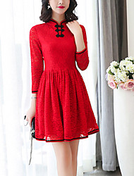 Women's Slim Vintage A Line Lace DressSolid Lace Cut Out Stand Above Knee  Sleeve Cotton Polyester Red Black Spring High Rise
