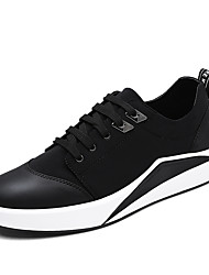 Men's Sneakers Spring PU Casual Flat Heel Split Joint Black