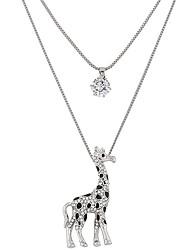 Feminino Colares com Pendentes Formato Animal Veado Girafa Strass imitação de diamante Liga Moda Dupla camada Prata Jóias ParaFesta