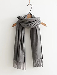 Damen Retro Niedlich Büro Baumwollmischung Schal,Rechteck einfarbig Frühling Winter Rot Schwarz Gelb Grau Beige