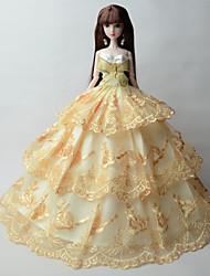 Princesse Robes Pour Poupée Barbie Beige Lace Robes Pour Fille de Jouets DIY