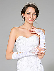 Ellenbogen Länge Ohne Finger Handschuh Satin Brauthandschuhe Perlstickerei