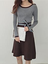 signe 2016 hiver nouvelle couleur hit korean longue section de jupe creux était tricot robe mince femme
