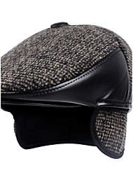 British Winds Beckham Berets Wave Point Printed Woolen Stitching Leather Thickening Protect the Ears Warm Hat